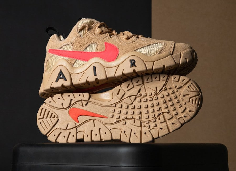 Nike Air Barrage Low en suède marron beige et rose (2)