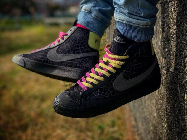 Nike Blazer 77 Mid 3M Spider Web Halloween 2020 on feet DC1929-001