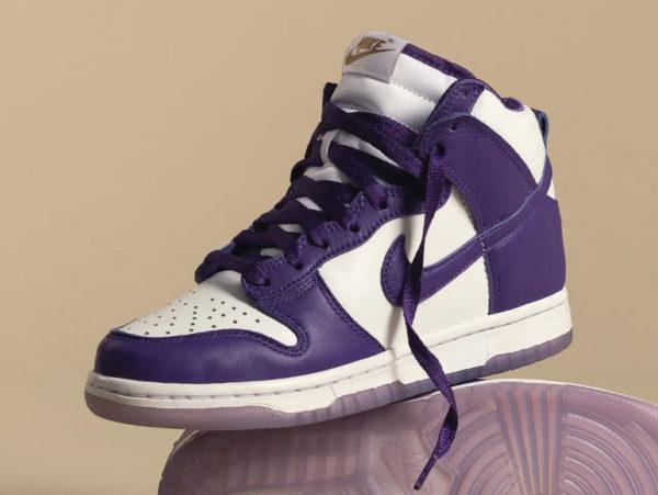 Nike Dunk Hi fille blanche et violette (2-1)