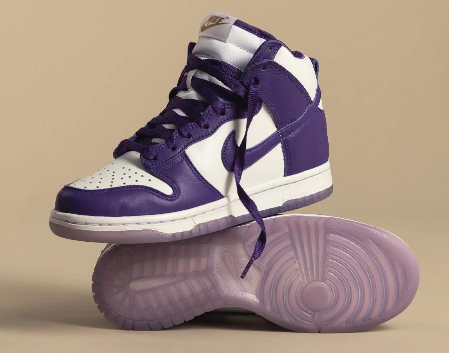 Nike Dunk Hi fille blanche et violette (2)
