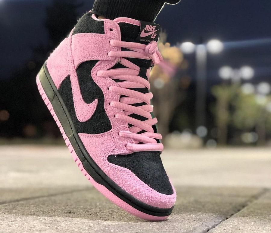 Nike Dunk High Pro SB 2020 rose noire verte et blanche (4)