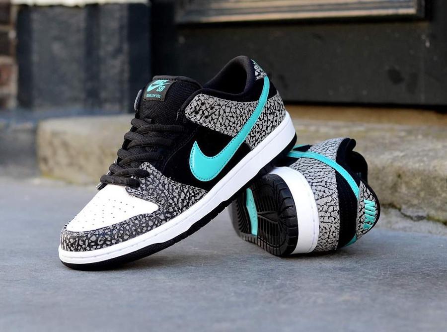Nike Dunk Low Pro SB 2020 blanche noire et bleu turquoise (1)