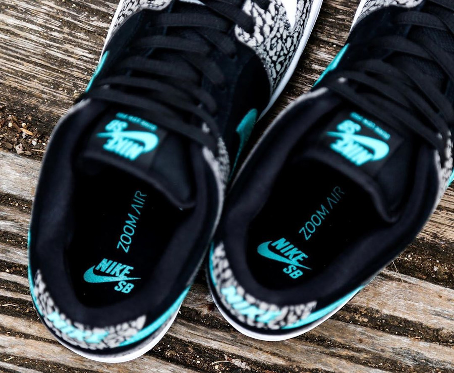 Nike Dunk Low Pro SB 2020 blanche noire et bleu turquoise (4)