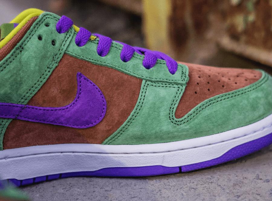 Nike Dunks Lo en suede vert marron et violet (2)