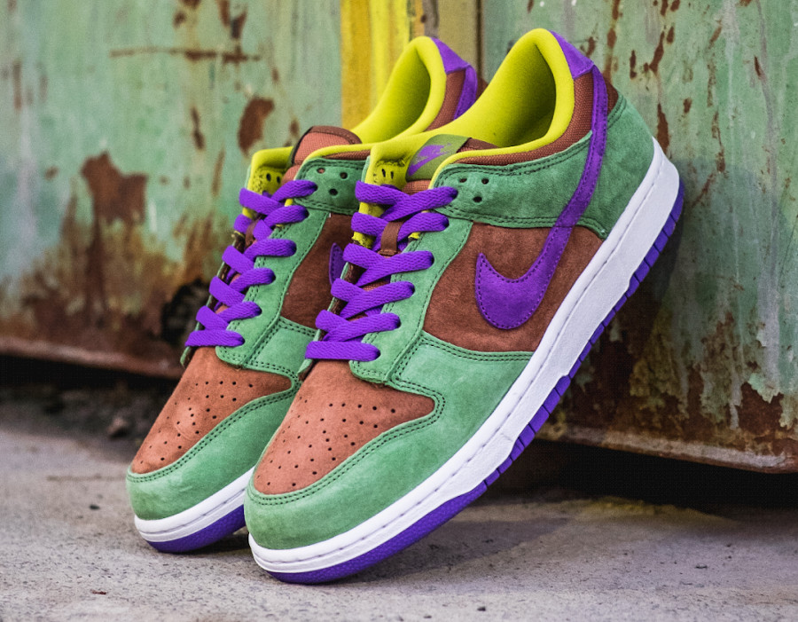 Nike Dunks Lo en suede vert marron et violet (4)