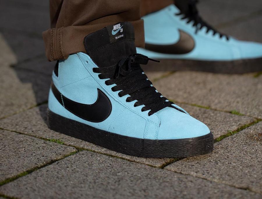 Nike Zoom Blazer Mid SB en suède bleu baltique (3)
