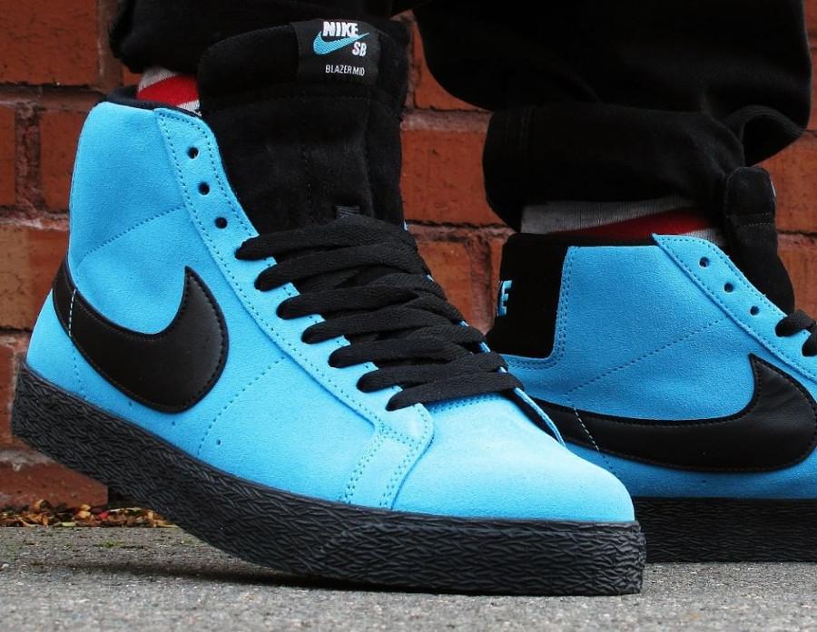 Nike Zoom Blazer Mid SB en suède bleu baltique (4)