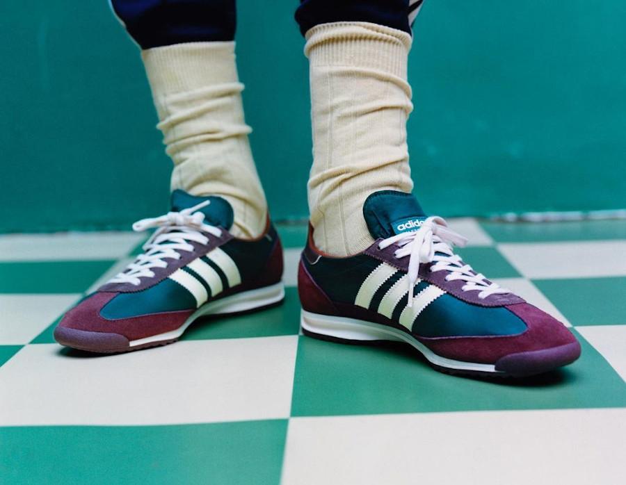 WB x Adidas SL72 en suède marron bordeaux (4)