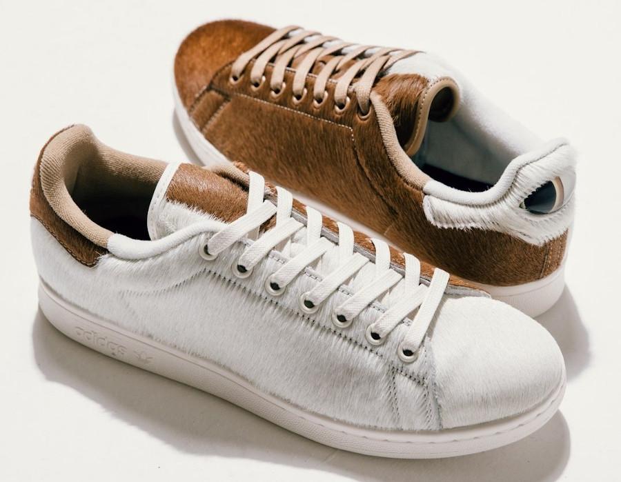 Adidas Stan Smith Mogwai fourrure marron blanche (3)