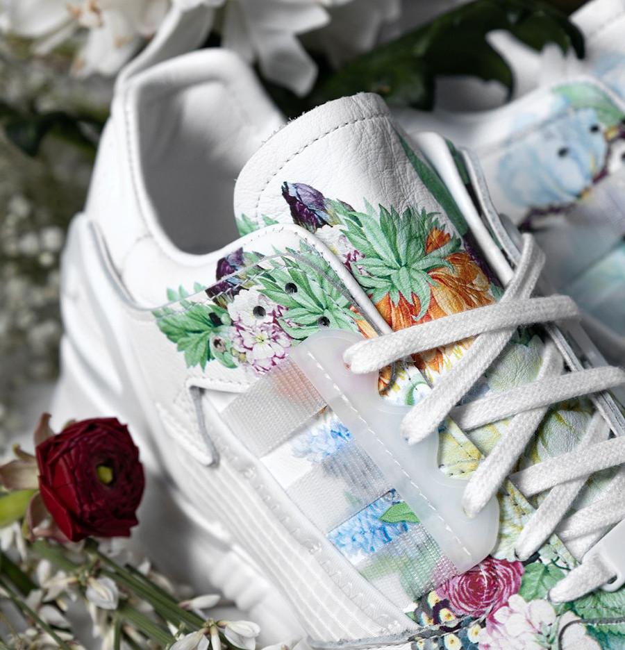 Adidas ZX 10.000 C blanche avec des fleurs (1)