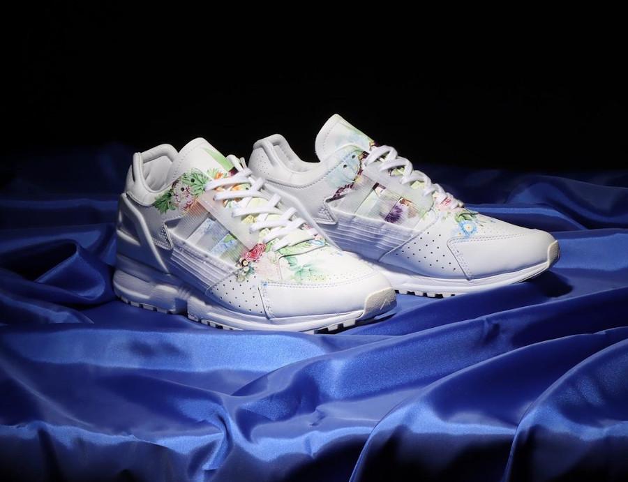 Adidas ZX 10.000 C blanche avec des fleurs (2)