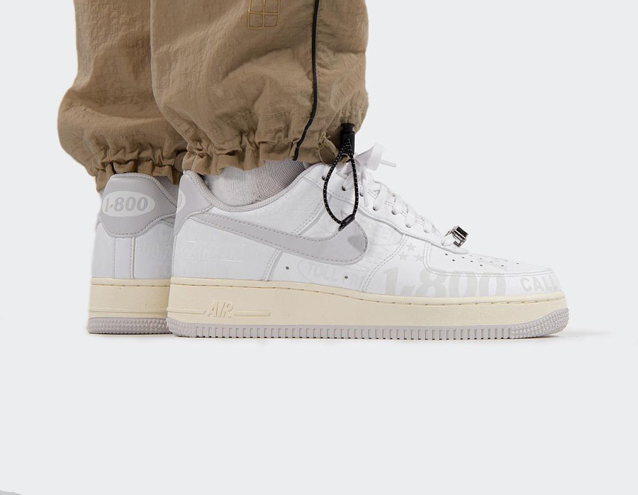 Nike AF1 '07 Premium Vast Grey Sail '1-800 Toll Free' on feet