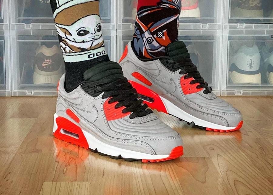 Nike Air Max 3 LX matelassée grise et rouge (3)