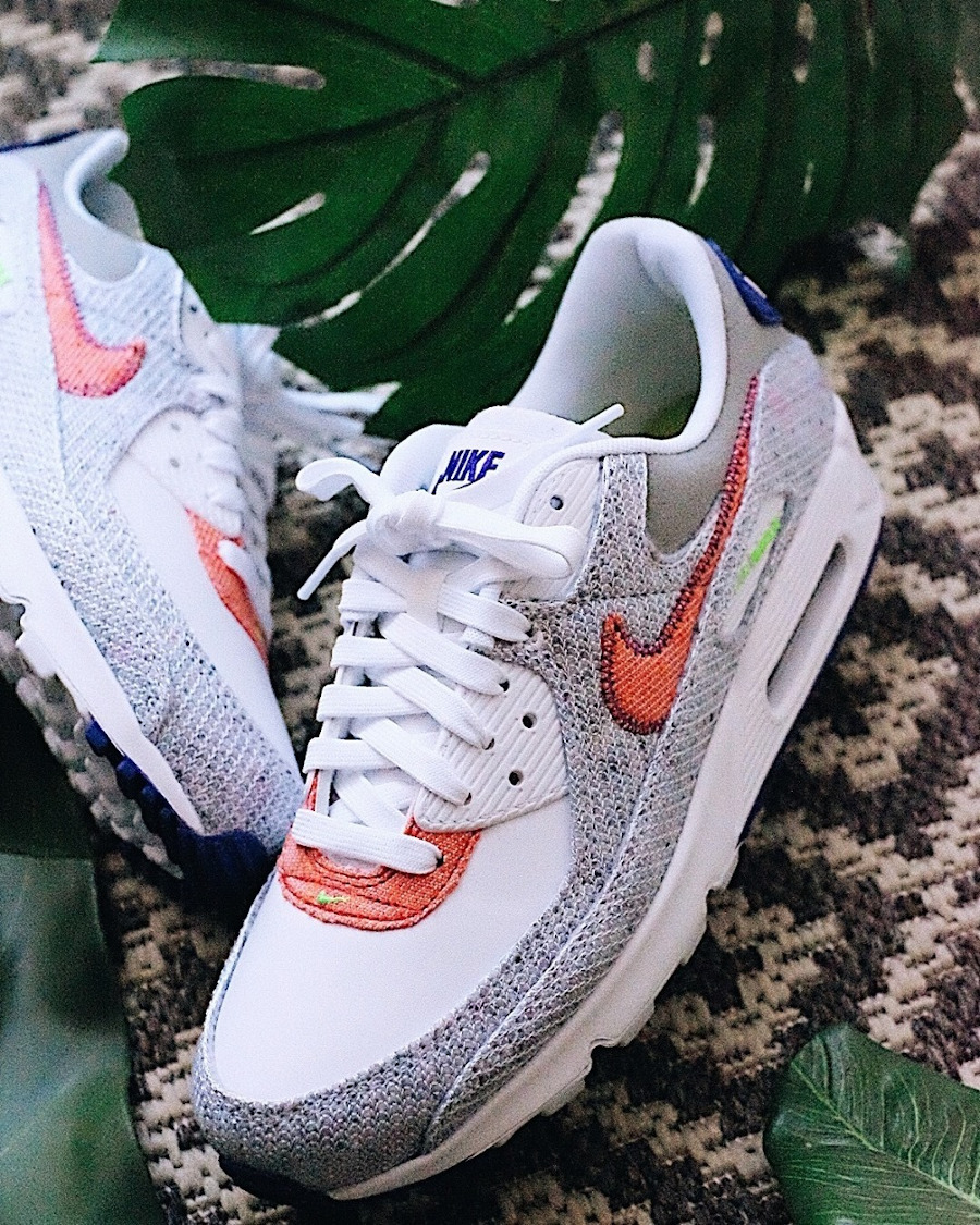 Nike Air Max 90 recyclée blanche vert fluo violet (4)