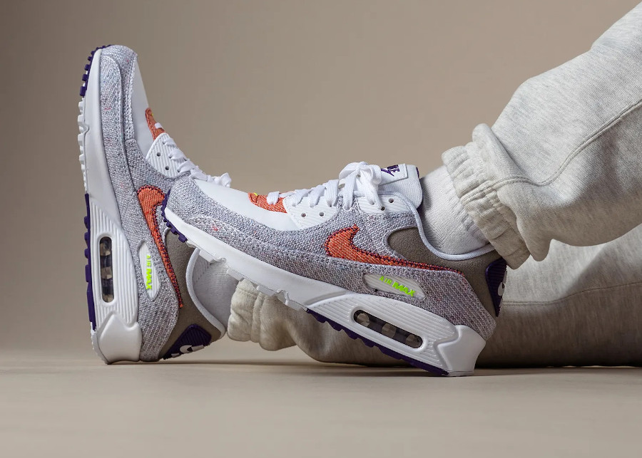 Nike Air Max 90 recyclée blanche vert fluo violet
