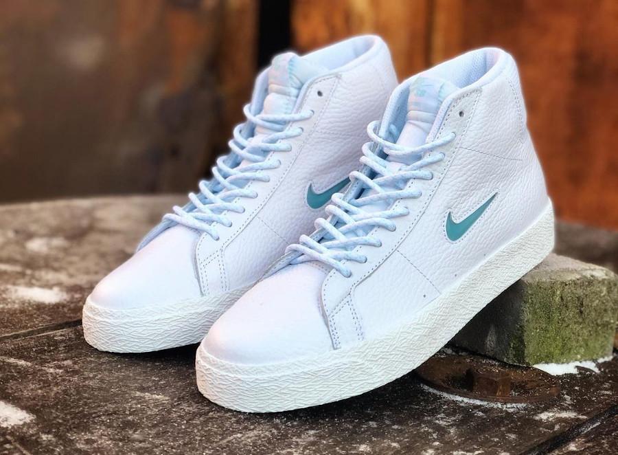 Nike Blazer Mid SB blanche bleu ciel (2)