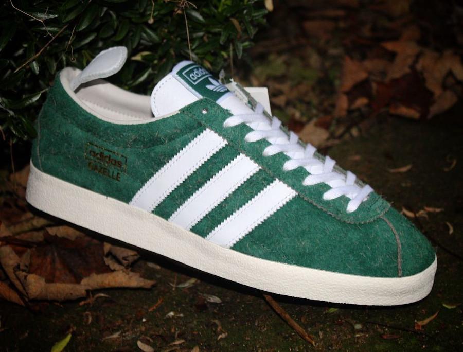 Adidas Gazelle en daim poilu vert (3)