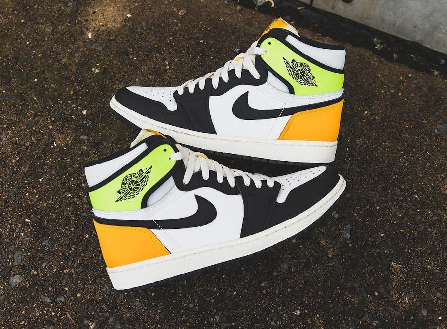 Air Jordan 1 Black Toe vert fluo et jaune moutarde (1)