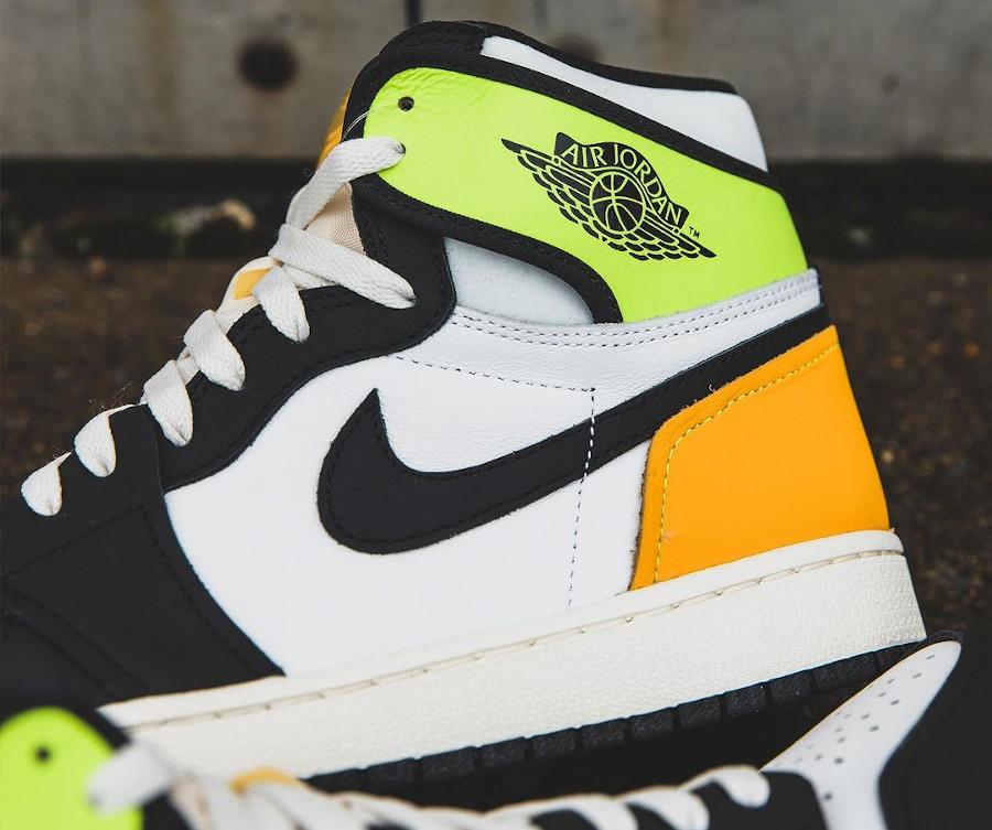 Air Jordan 1 Black Toe vert fluo et jaune moutarde (2)