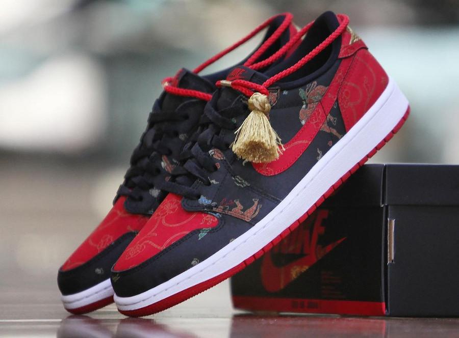 Air Jordan 1 basse noire et rouge nouvel an chinois (7)