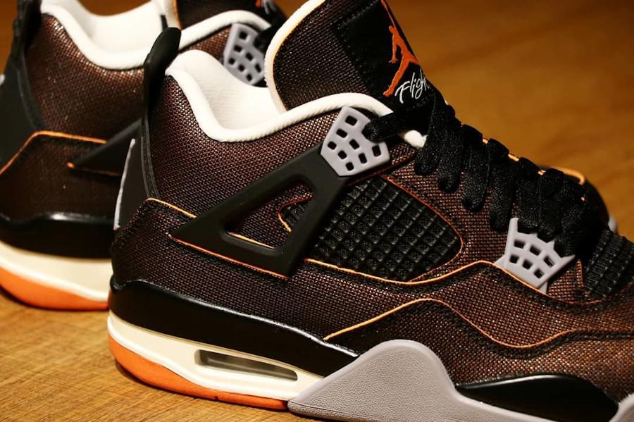 Air Jordan 4 en tissu brillant noir et orange (1)