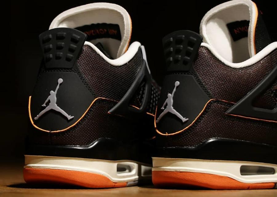 Air Jordan 4 en tissu brillant noir et orange (2)