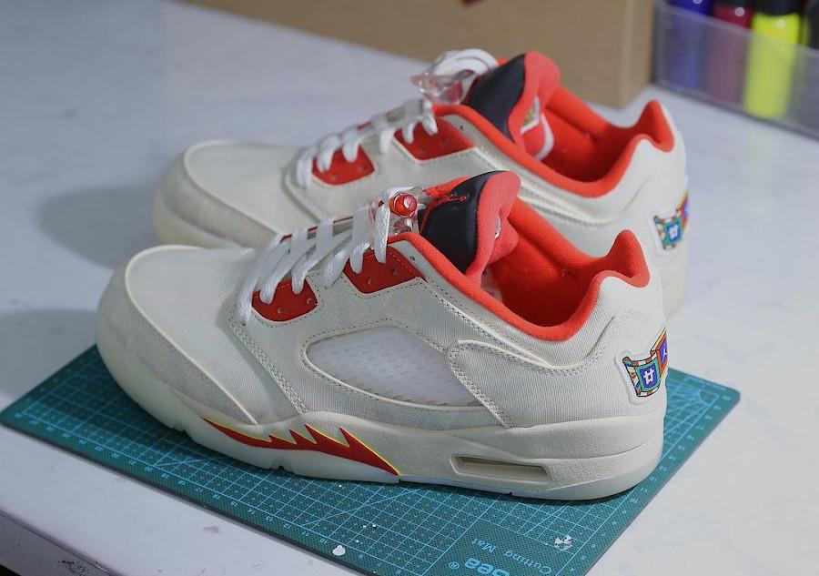 Air Jordan 5 basse en blanc cassé déchirable (4)
