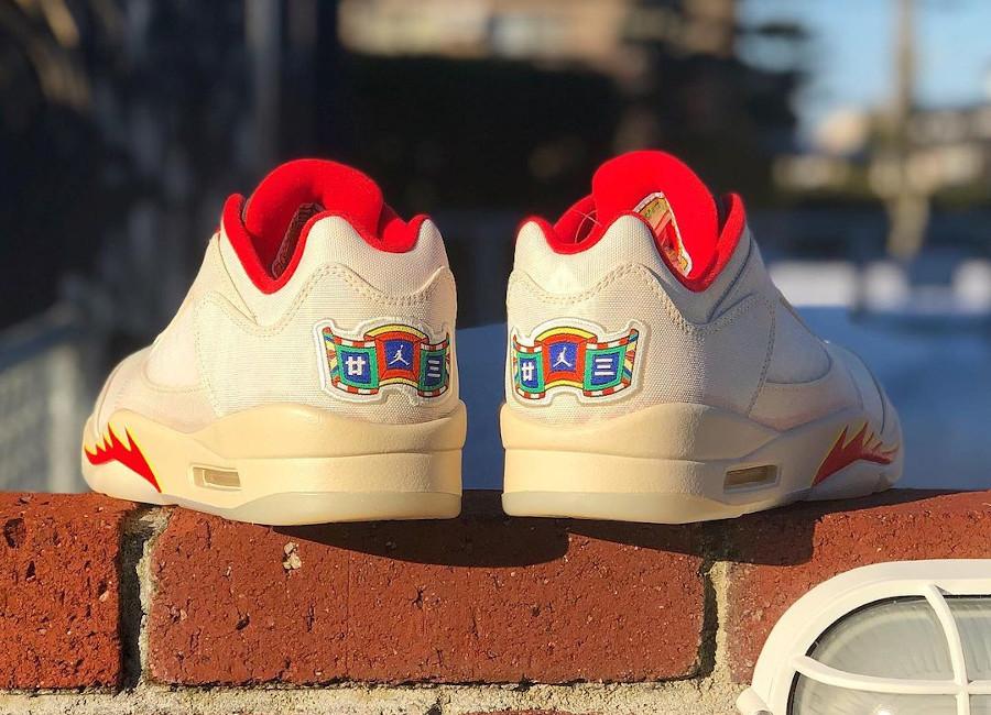 Air Jordan V basse beige et rouge (2)