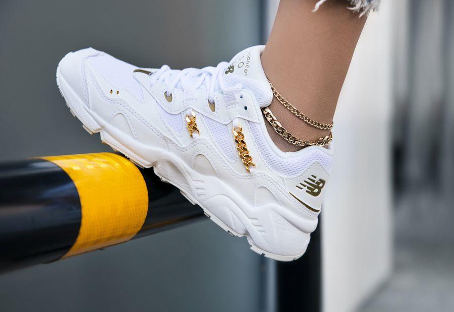 New Balance 850 WL850GFB White 'Jewel' Gold Chain