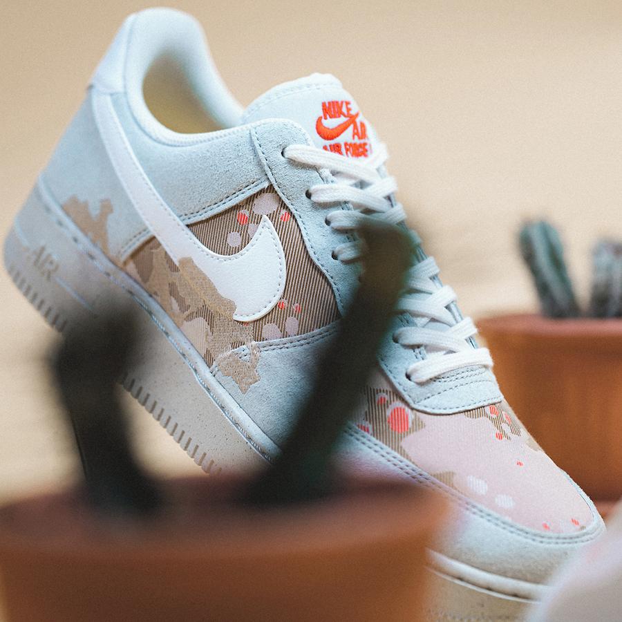 Nike AF1 recyclée gris beige et orange (2)