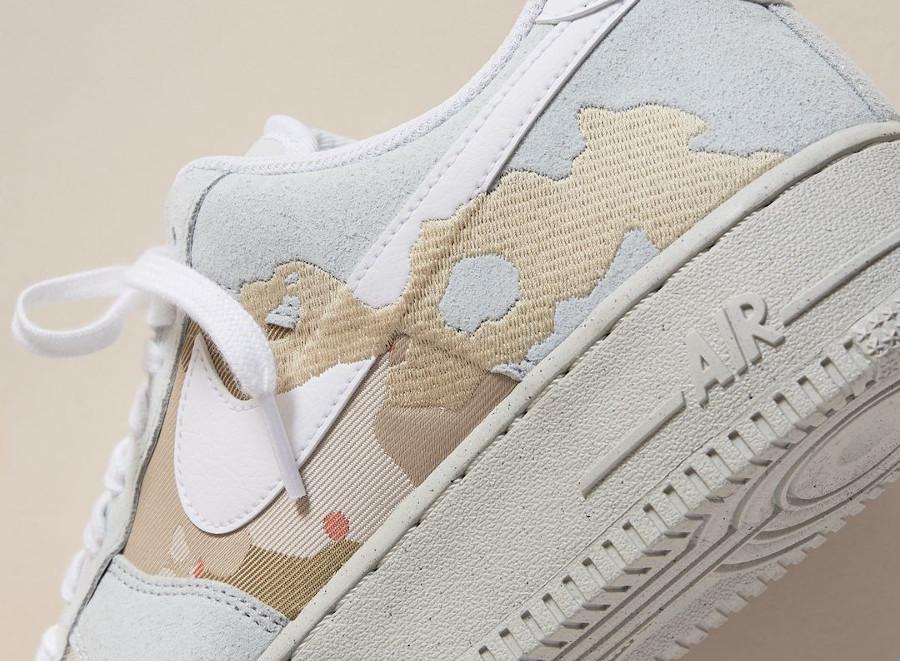 Nike AF1 recyclée gris beige et orange (6)