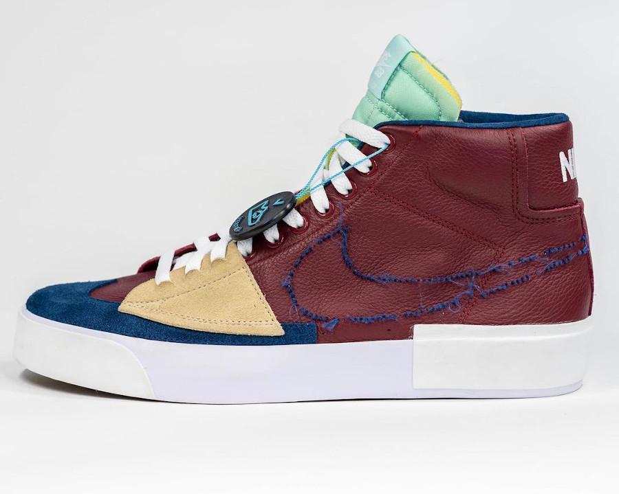 Nike Blazer Mid SB bordeaux beige et bleu (4)