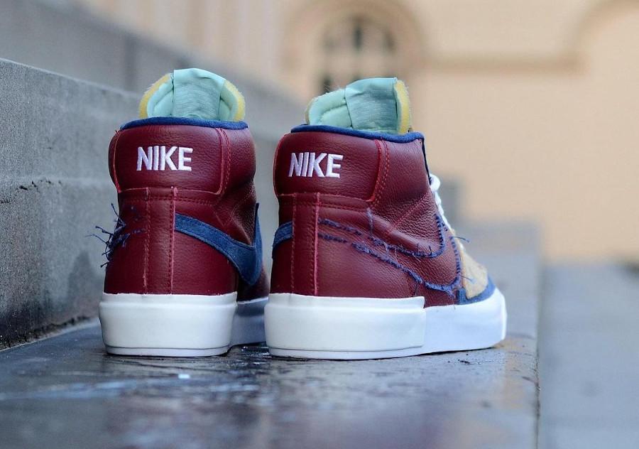 Nike Blazer Mid SB bordeaux beige et bleu (5)