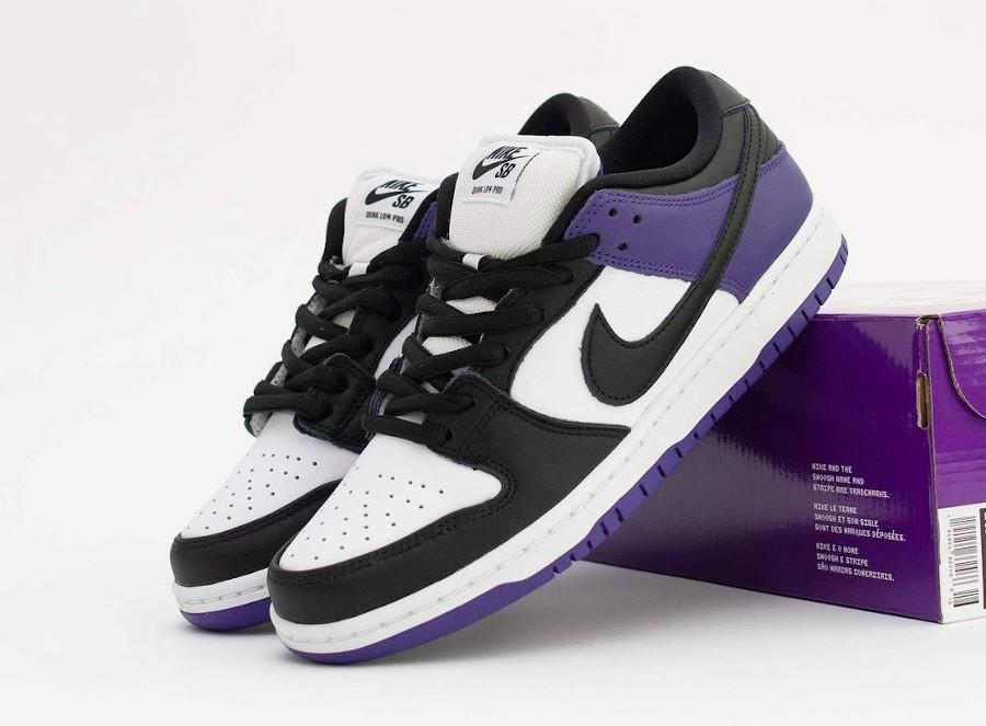 Nike Dunk Low Pro SB blanchet noir et violet (4)