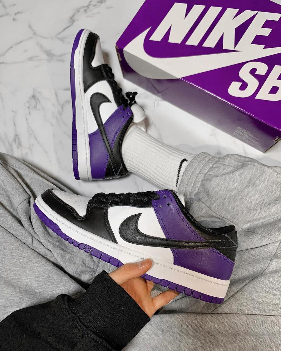 Nike Dunk Low Pro SB blanchet noir et violet (7)