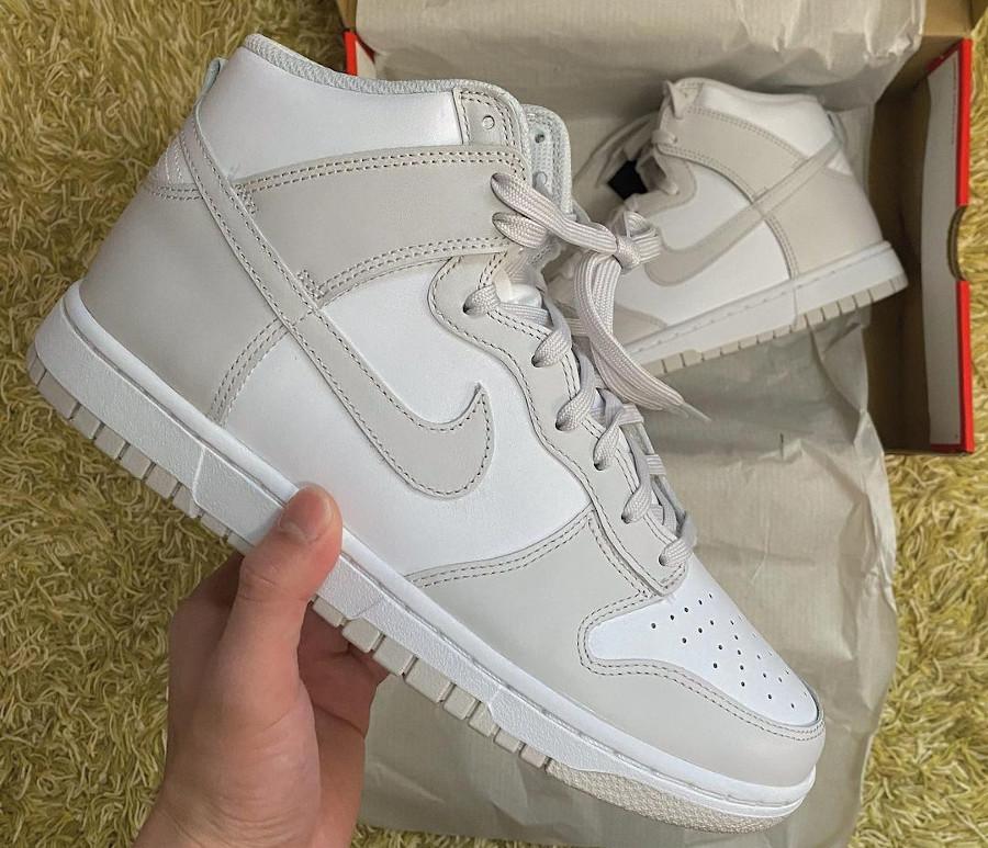 Nike Dunk montante blanche et grise (2)
