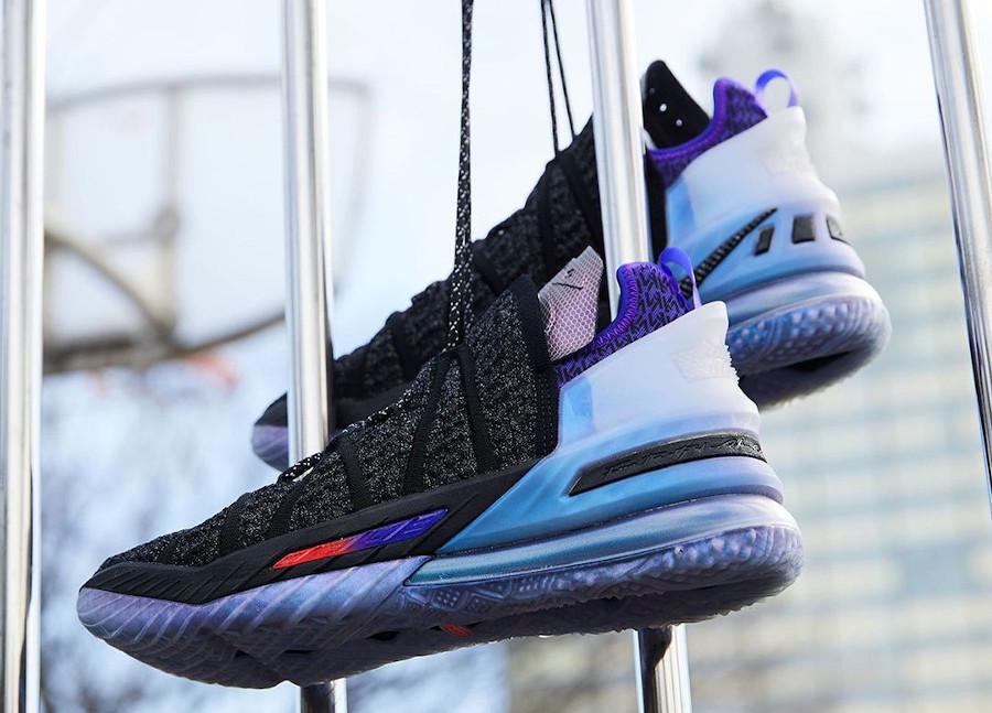 Nike Lebron XVIII KM noire et violet (7)