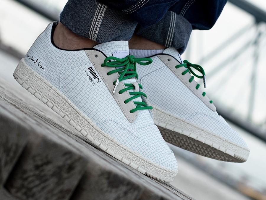 Puma R Sampson blanche et verte papier millimétré (2)