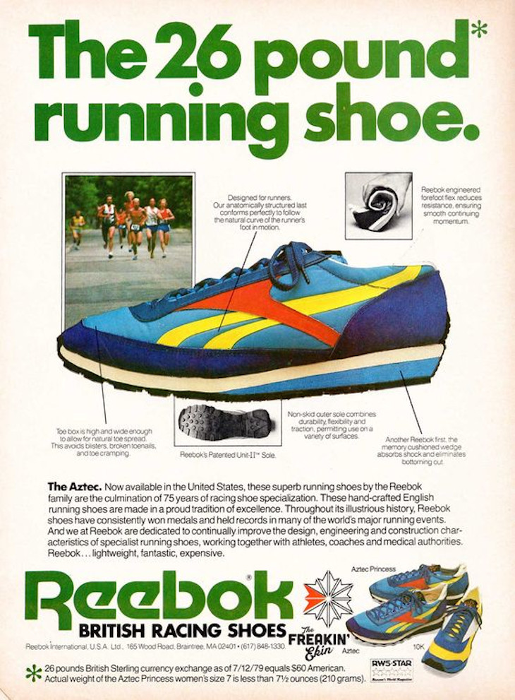 Reebok Aztec publicité vintage de 1979