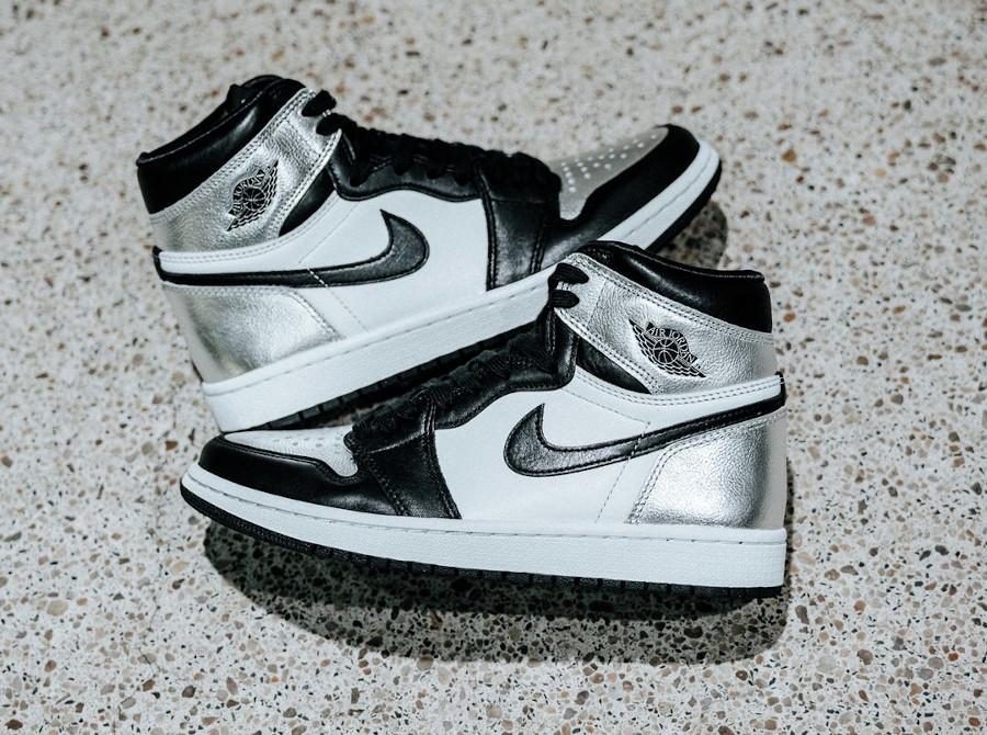 AJ1 Hi noir et gris argent métallique (2)
