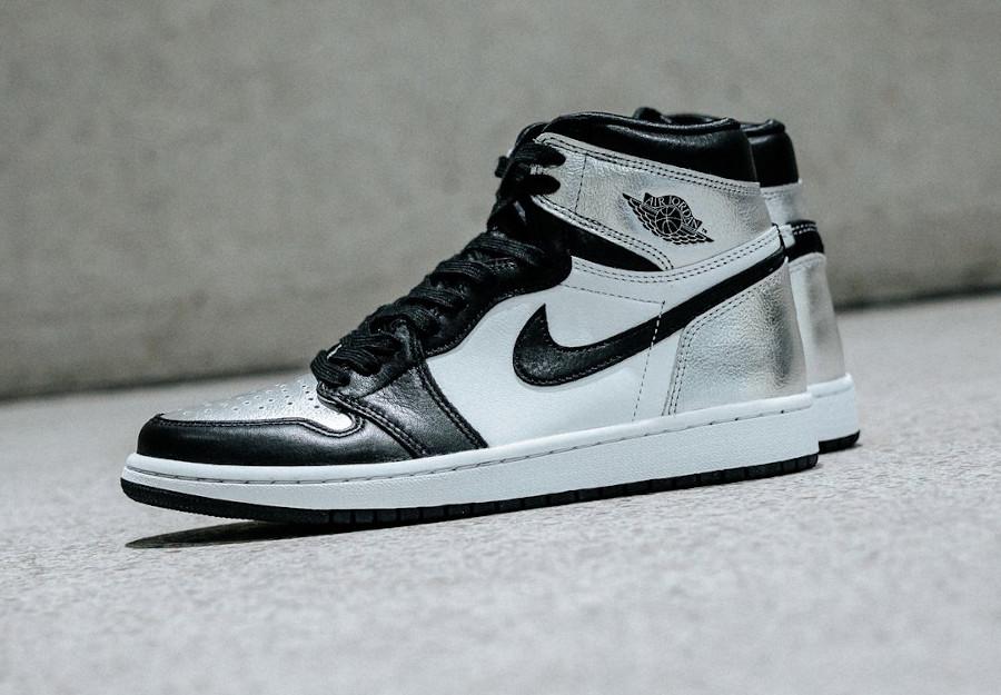 AJ1 Hi noir et gris argent métallique (3)
