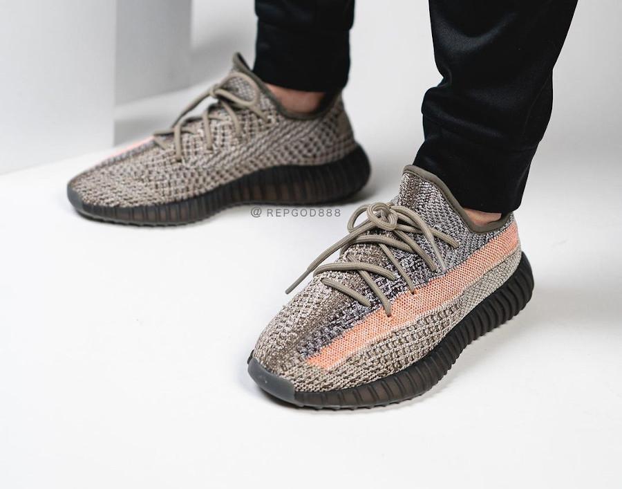 Adidas Yeezi grise et orange (4)