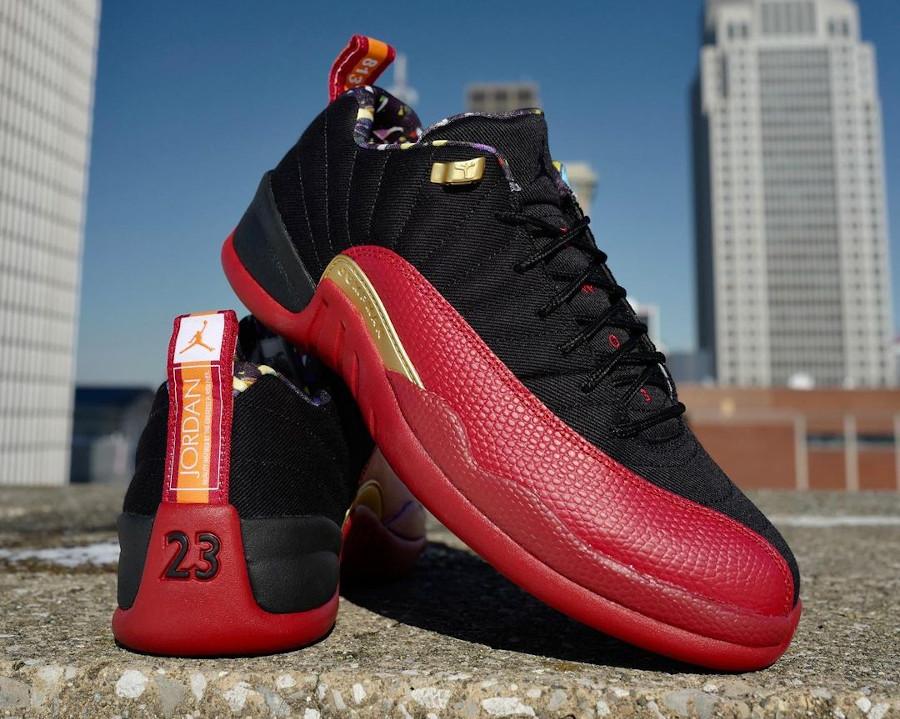Air Jordan 12 basse rouge et noire 2021 (4)
