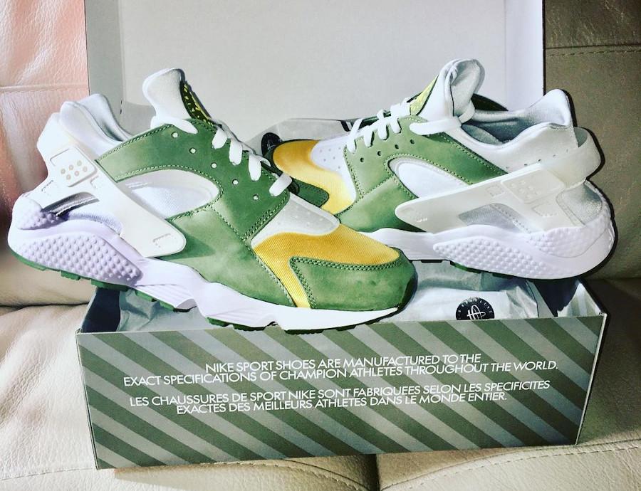 Nike Air Huarache Leather jaune et verte (1)