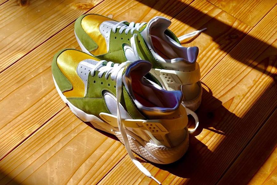 Nike Air Huarache Leather jaune et verte (2)