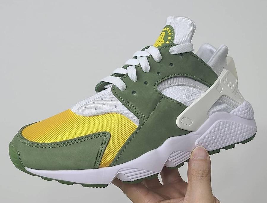 Nike Air Huarache Leather jaune et verte (3)