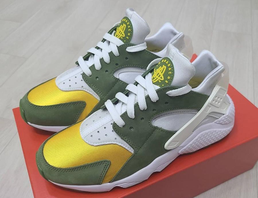 Nike Air Huarache Leather jaune et verte (5)