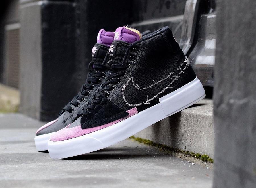 Nike Blazer SB Mid Edge 2021 noir violet et rose (3)