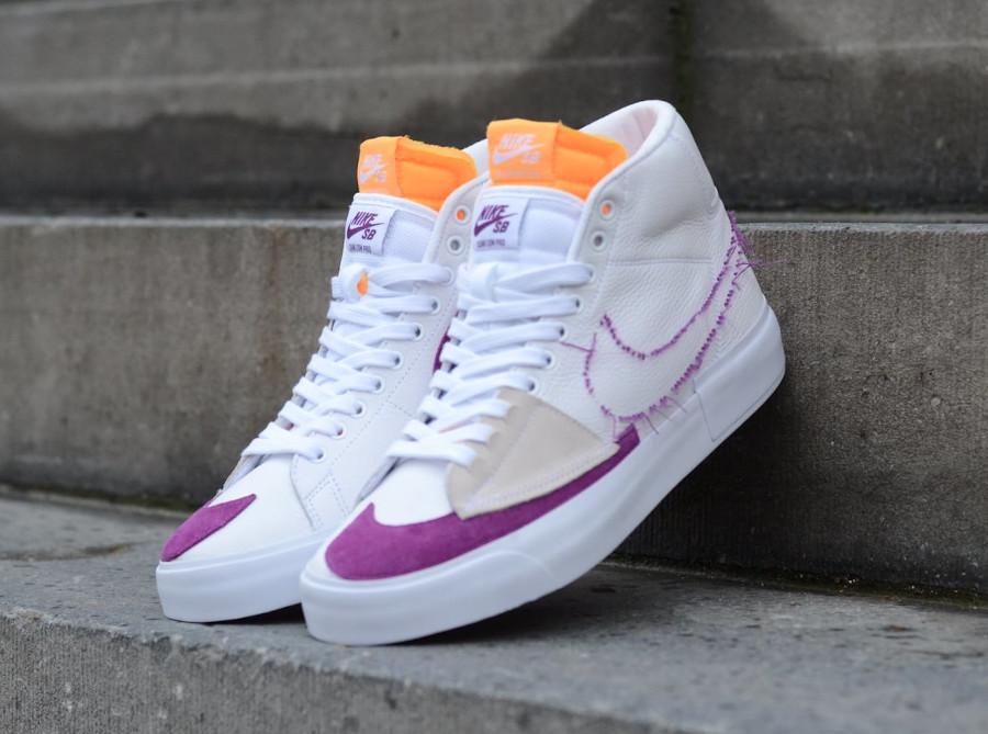 Nike Zoom Blazer SB Mid Edge blanche jaune et violet (2)