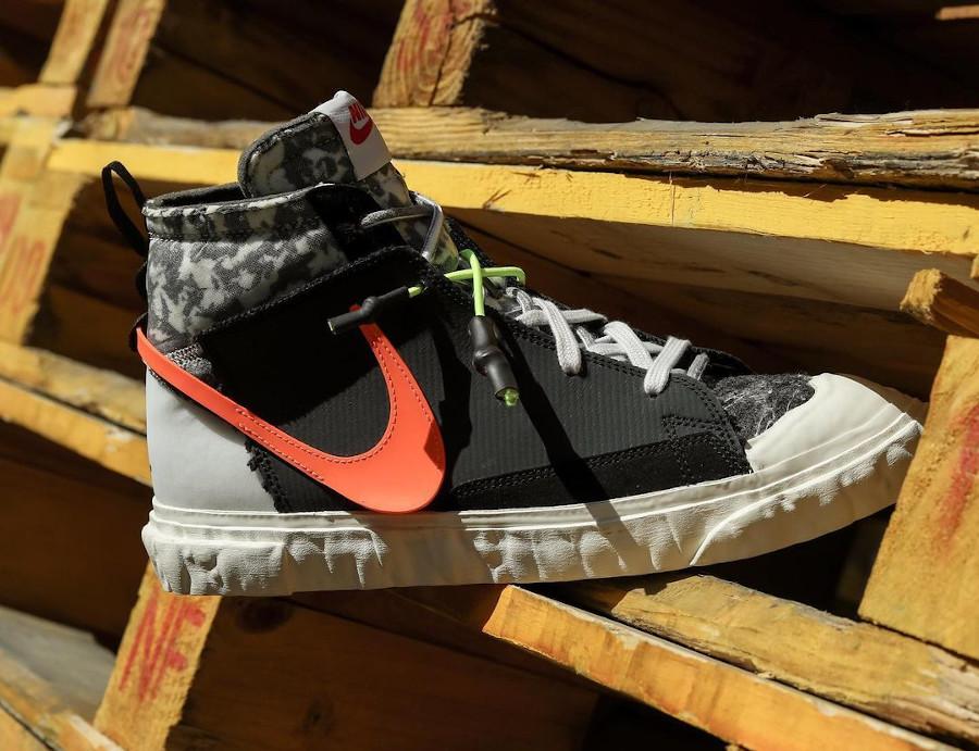 Yuta Hosokawa x Nike Blazer Mid noire blanche mandarine et vert fluo (6)